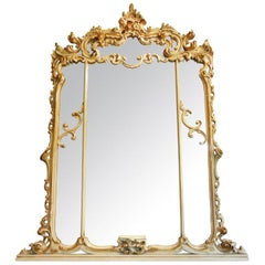 Art Deco Period Baroque-Style Large Mantel Mirror in Painted Gesso