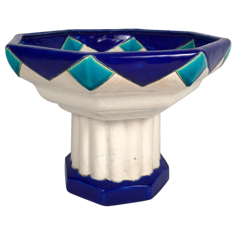 Art Deco Period Blue Turquoise and White Ceramic Footed Bowl by Boch Frères For Sale