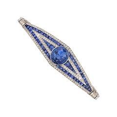 Art Deco Period Ceylon Sapphire and Diamond Bracelet