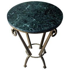 Art Deco Period Circular Serpentine Marble and Gilded Metal Occasional Table