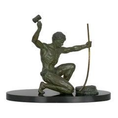 Art Deco Period Cold-Painted Metal Sculpture of Man Hammering Bronze circa 1930s