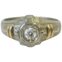 Art Deco Period Diamond and 14-Karat White & Yellow Gold Men's Ring