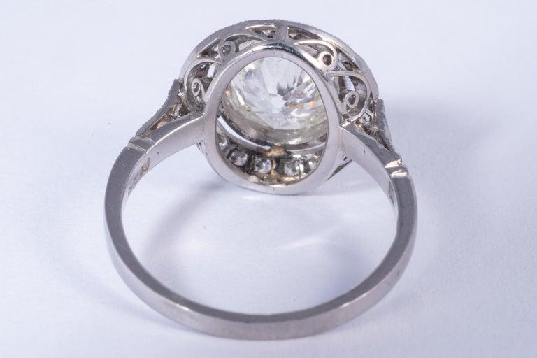 Women's or Men's Art Deco Period European Cushion Cut Diamond Ring For Sale
