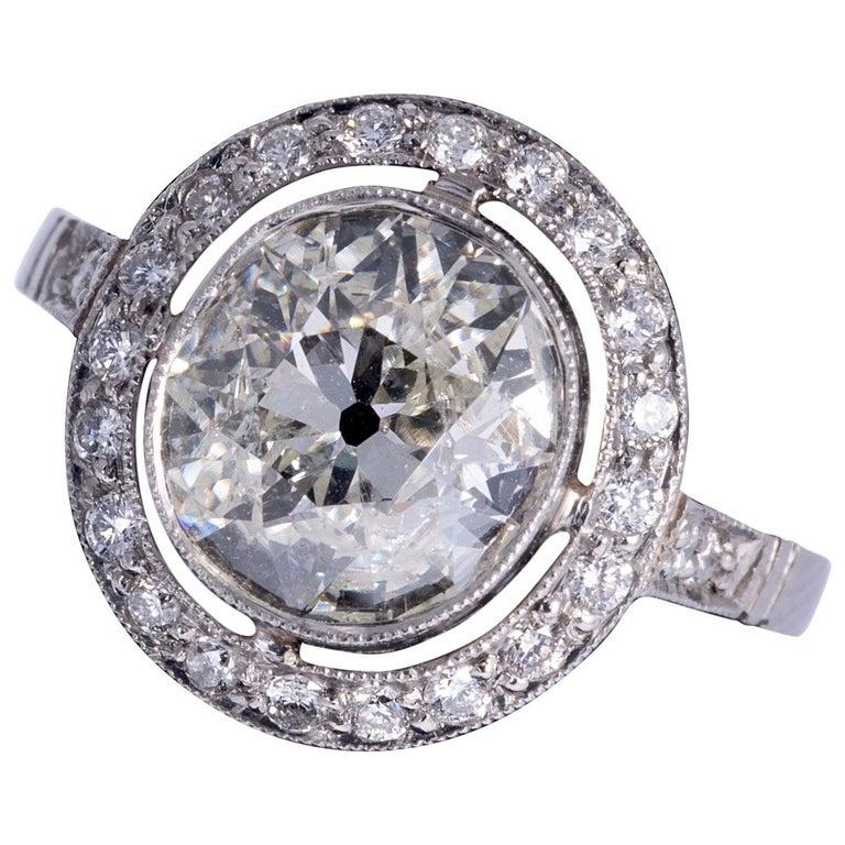 Art Deco Period European Cushion Cut Diamond Ring For Sale