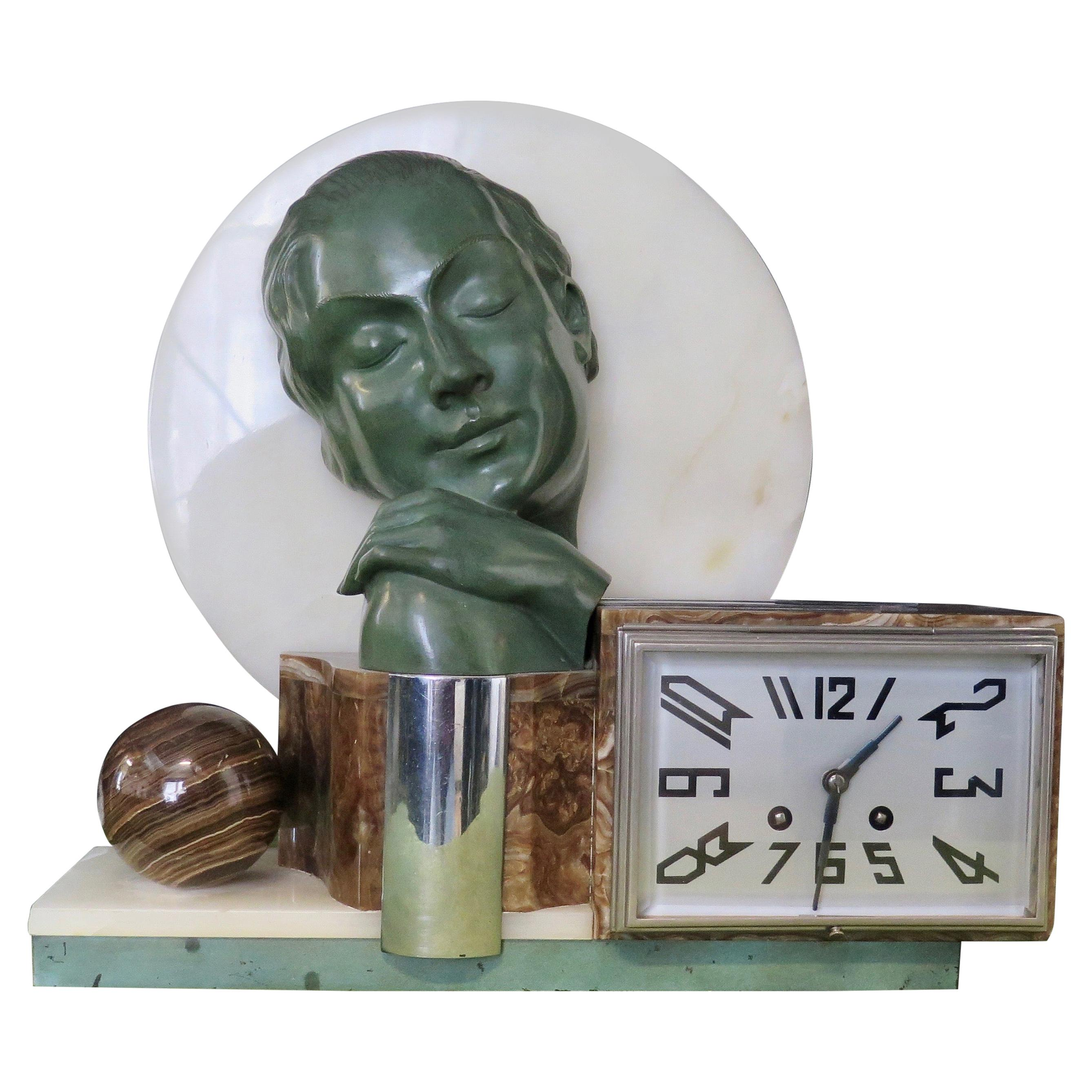 Art Deco Period French Bronze and Onyx Clock