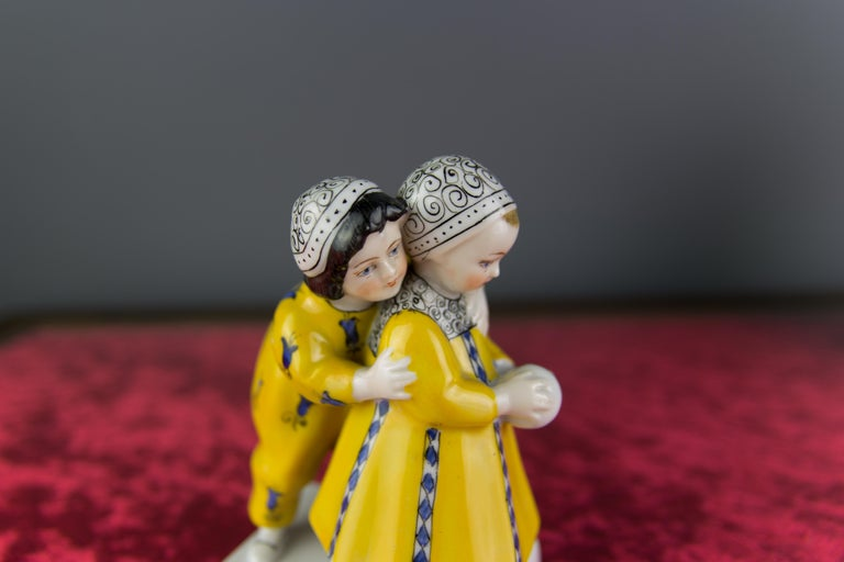 Art Deco Period Goebel Porcelain Figure Group of Two Children with Ball, 1920s For Sale 12