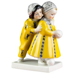Art Deco Period Goebel Porcelain Figure Group of Two Children with Ball, 1920s