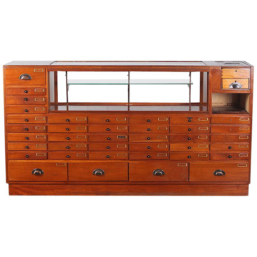 Art Deco Period Jeweler's or Watch Maker's Cabinet / Shop Counter