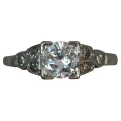 Art Deco Period Platinum 0.75 Carat Diamond Solitaire Engagement Ring