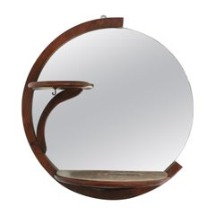 Art Deco Period Round Wood Wall Mirror with Shelf, Small