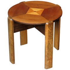 Art Deco Period Small Occasional Table with Quarter Veneered Top and Oak Legs