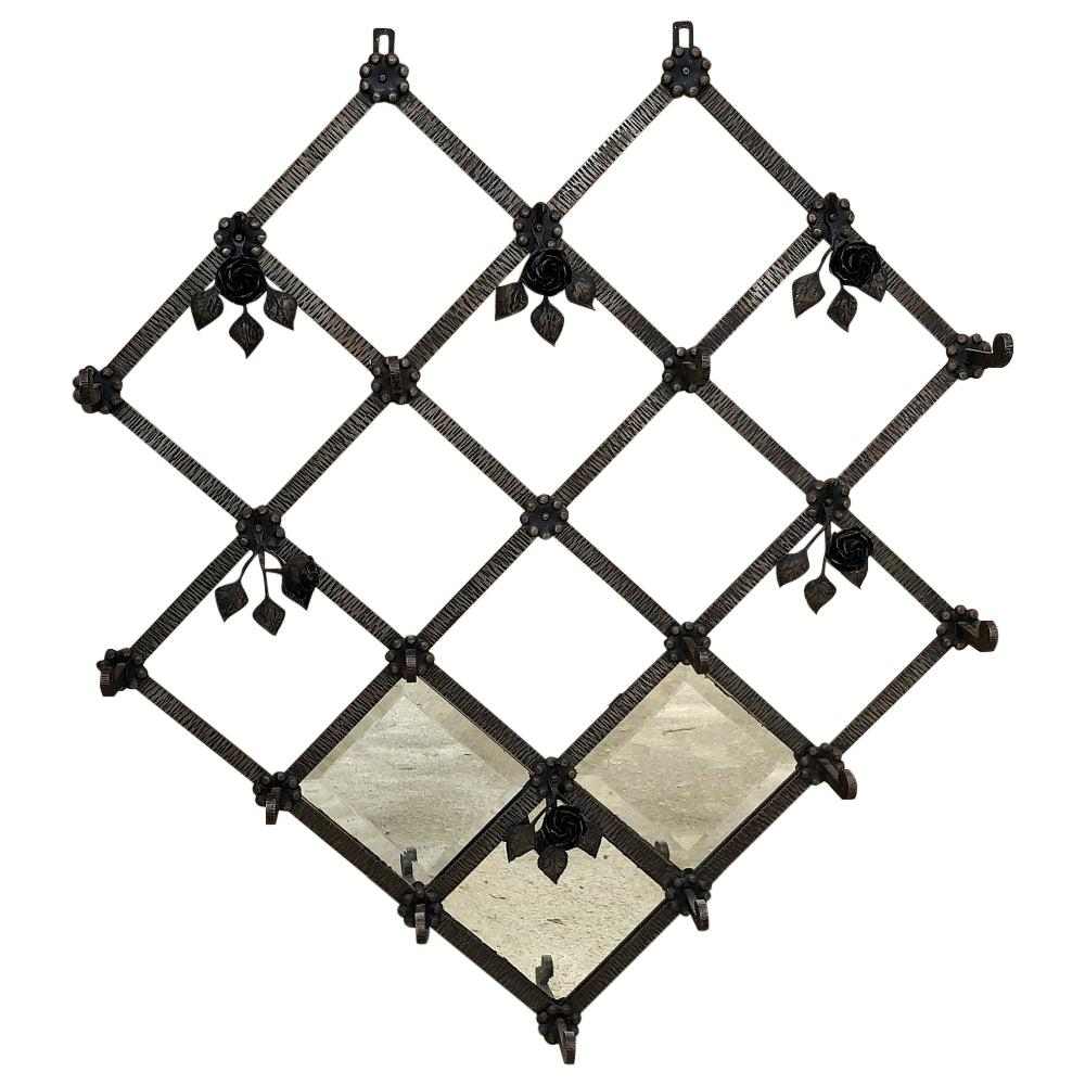 Art Deco Period Wrought Iron Hanging Hall Tree