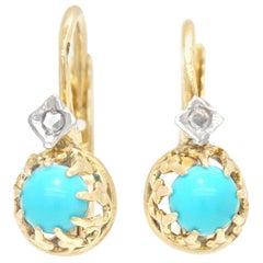 Art Deco Persian Turquoise and Diamond Earrings