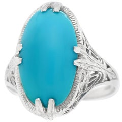 Art Deco Persian Turquoise Set Gold Ring
