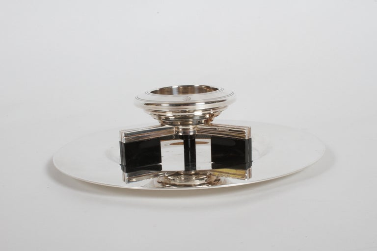 French Art Deco Petrossian Caviar Silver Plate Presentoir Serving Dish and Tray For Sale