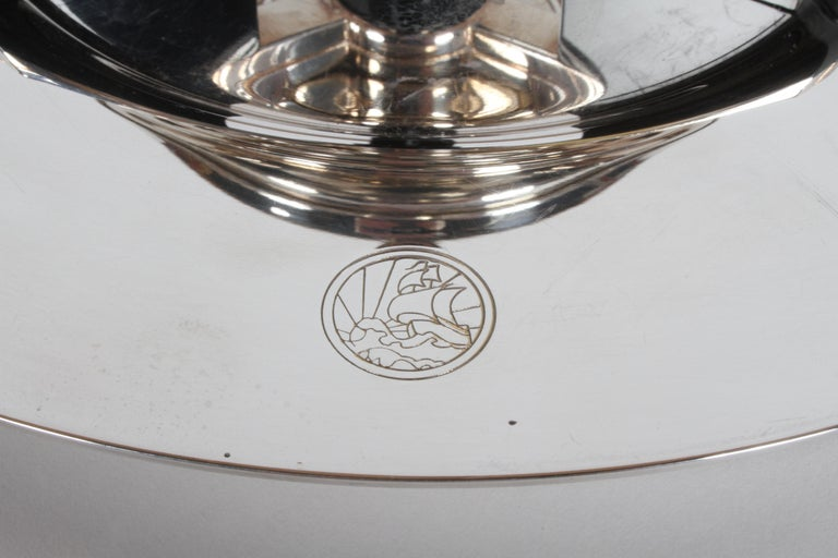 Art Deco Petrossian Caviar Silver Plate Presentoir Serving Dish and Tray In Good Condition For Sale In St. Louis, MO