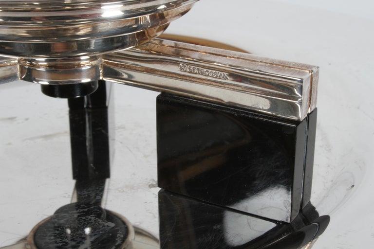 Art Deco Petrossian Caviar Silver Plate Presentoir Serving Dish and Tray For Sale 1