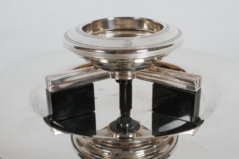 Art Deco Petrossian Caviar Silver Plate Presentoir Serving Dish and Tray For Sale 2