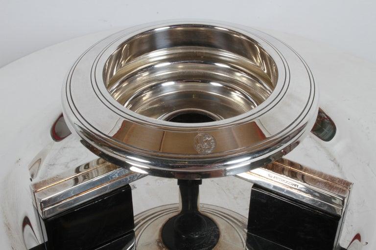 Art Deco Petrossian Caviar Silver Plate Presentoir Serving Dish and Tray For Sale 3