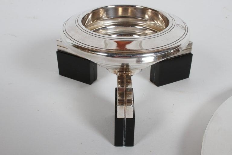 Art Deco Petrossian Caviar Silver Plate Presentoir Serving Dish and Tray For Sale 4