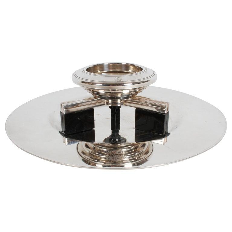 Art Deco Petrossian Caviar Silver Plate Presentoir Serving Dish and Tray For Sale