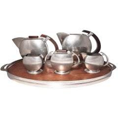 Art Deco Pewter and Wood Tea Set Zeister Holland