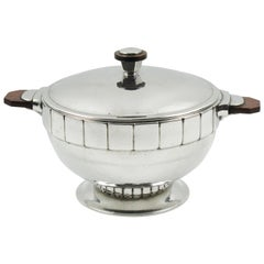 Art Deco Pewter Tureen Covered Dish Centerpiece