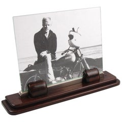 Art Deco Picture Frame Macassar Wood Chrome