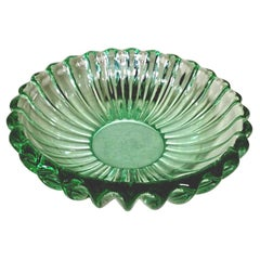 Art Deco Pierre D'Avesn Style French Bowl Green Molded Glass