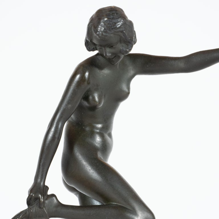 French Art Deco Pierre La Faguay Bronze Flapper Sculpture on Exotic Onyx Plinth Base For Sale