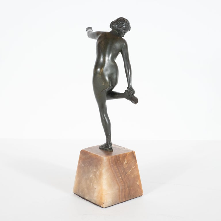 Mid-20th Century Art Deco Pierre La Faguay Bronze Flapper Sculpture on Exotic Onyx Plinth Base For Sale