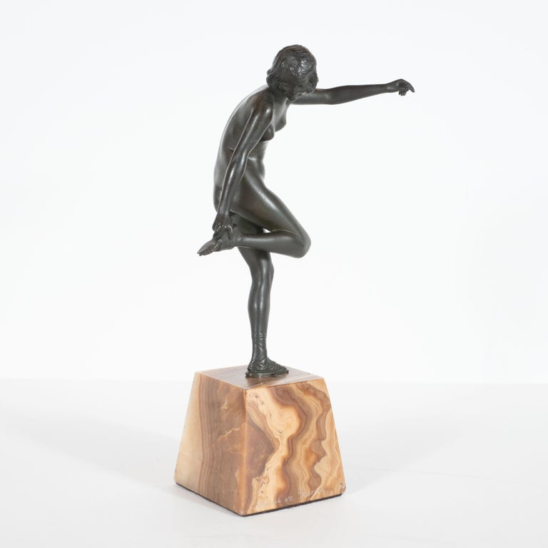 Art Deco Pierre La Faguay Bronze Flapper Sculpture on Exotic Onyx Plinth Base For Sale 1
