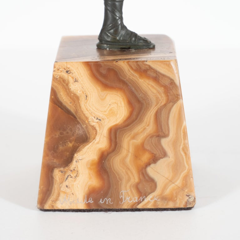 Art Deco Pierre La Faguay Bronze Flapper Sculpture on Exotic Onyx Plinth Base For Sale 3