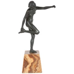 Art Deco Pierre La Faguay Bronze Flapper Sculpture on Exotic Onyx Plinth Base