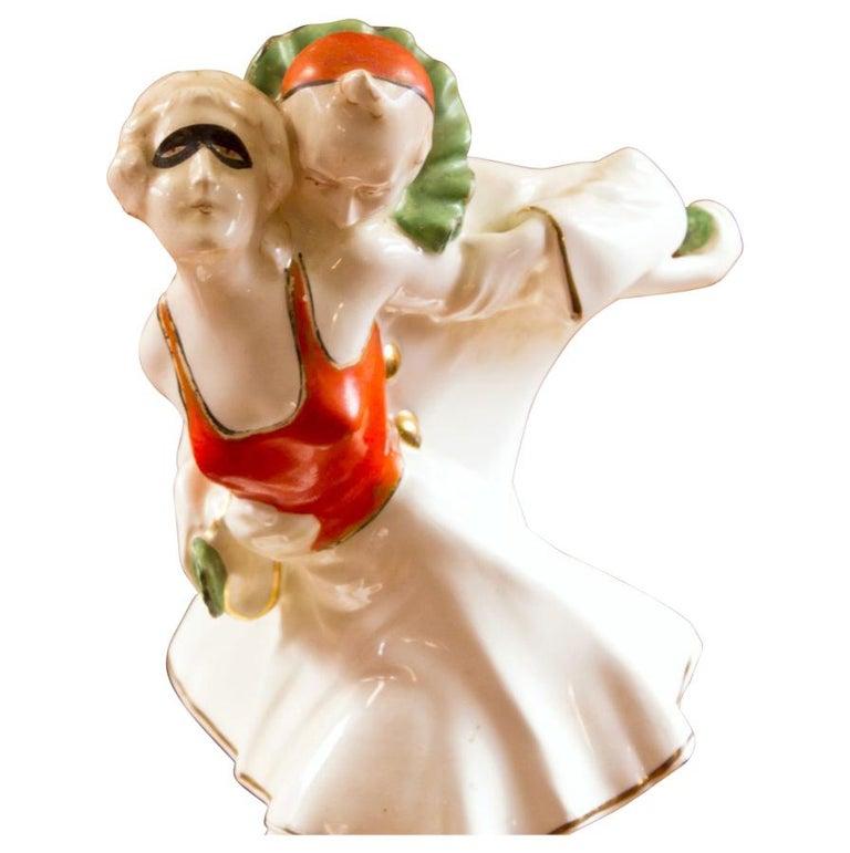 Paris Porcelain Art Nouveau Period Lamp Chinese Taste: Art Deco Pierrot And Pierrette Porcelain Figurine For Sale