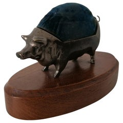 Art Deco Pig Sculpture, Needle, Sewing Needle Holder
