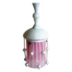 "Art Deco Pink and White ""Reticello"" by Venini Murano Glass Ceiling Lamp"