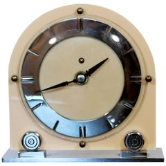 Art Deco Pink Celluloid Mantle Shelf Clock with Round Face on Chrome Base, 1930s