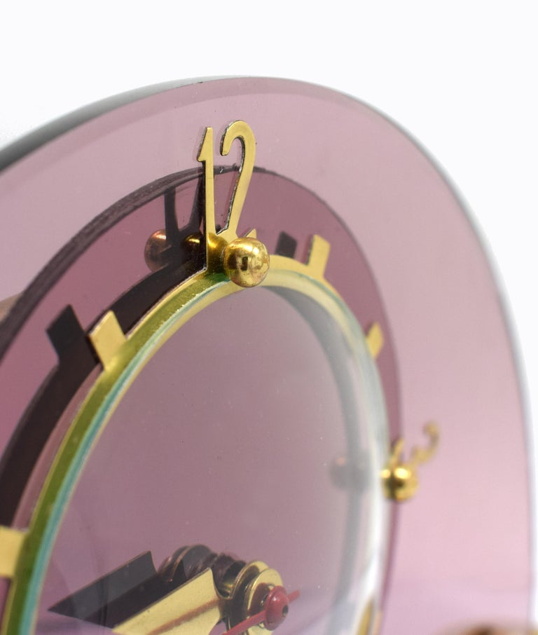 20th Century Art Deco Pink Mantle Clock by Smiths Clock Makers, circa 1930 For Sale