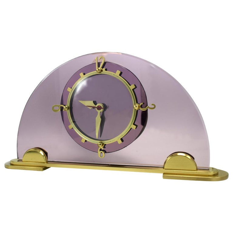 Art Deco Pink Mantle Clock by Smiths Clock Makers, circa 1930 For Sale