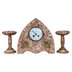 Art Deco Pink Marble Set of Mantle, Desk or Chapel Clock with Bronze Details