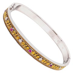 Art Deco Style Pink Sapphire and White Diamond Gold Bangle