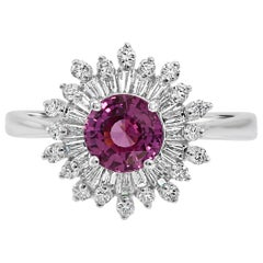Art Deco Style Pink Sapphire Diamond  DoubleHalo Gold Bridal Cocktail Ring