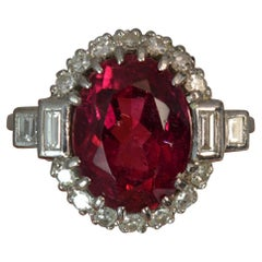 Art Deco Pink Tourmaline and Diamond 18 Carat White Gold Cluster Ring