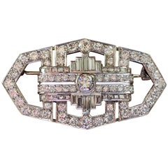 Art Deco Plaque Brooch Diamond Platinum