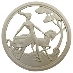 Art Deco Plaster Medallion from a New Orleans Brothel of a Female on a Unicorn