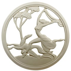 Art Deco Plaster Medallion from New Orleans Brothel of a Female & Greyhound