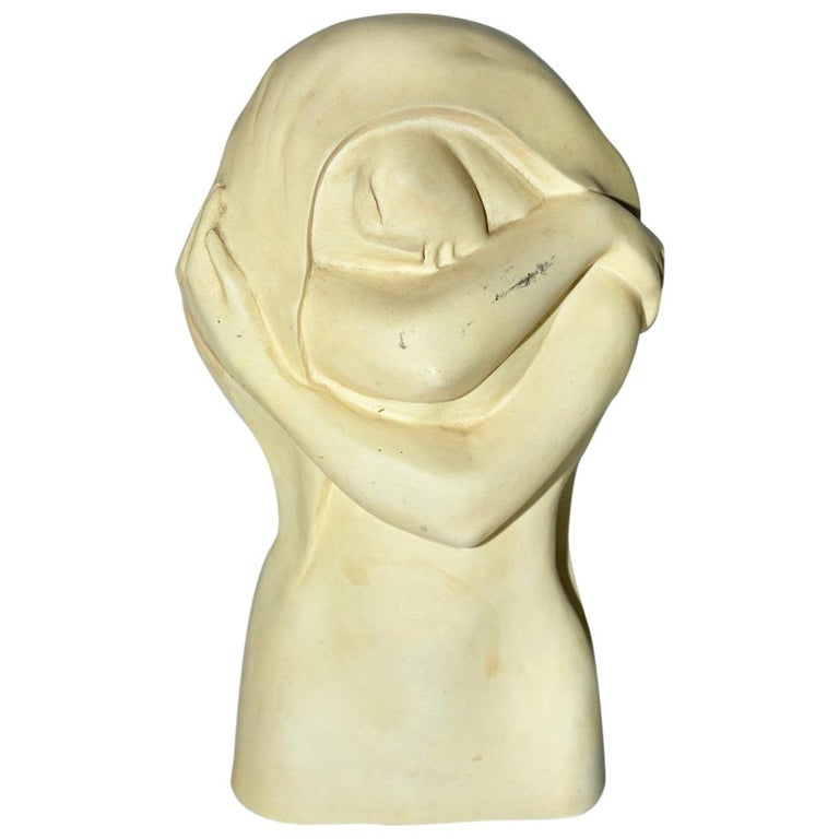 Art Deco Plaster or Stone Sculpture of Sleeping Lady For Sale