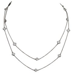 Art Deco Platinon Chain Necklace with Square Bezel Set Clear Crystals