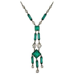 Art Deco Platinon Drop Pendant Link Necklace with Sea Green and Clear Crystals
